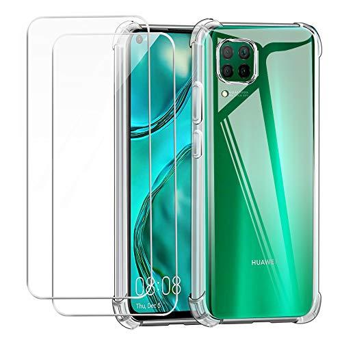 Reshias Funda para Huawei P40 Lite Carcasa + 2 Piezas Cristal Templado Protector de Pantalla, Suave TPU Transparente Silicona Anti Caída Phone Case Cover 6,4