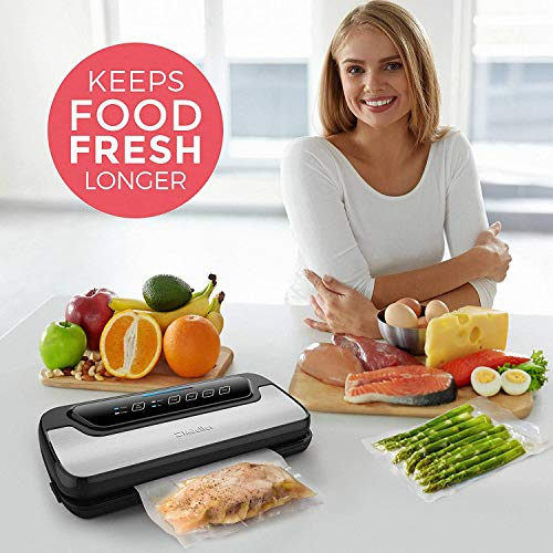 Vacuum Sealer Machine By Mueller   Automatic Vacuum Air Sealing System For Food Preservation w/Starter Kit   Compact Design   Lab Tested   Dry & Moist Food Modes   Led Indicator Lights