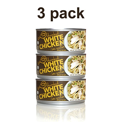 Kosher Club Canned Chicken - Kosher, Gluten Free, 98% Fat Free, No Preservatives, Pre-Cooked & Ready To Eat - A Nutritious & Delicious Source Of Lean Protein - 3 Pack