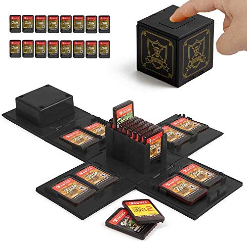 VANDA Custodia per Nintendo Switch - Contiene Fino a 16 Giochi Sistema di Conservazione Protettivo Organizzatore Card Giochi Involucro Rigido con 16 Slot/Inserimenti (Zelda Nero)