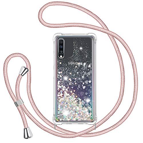 TUUT Funda Glitter Liquida con Cuerda para Samsung Galaxy A70/A70s, Glitter Cristal Suave Silicona TPU Bumper Protector Carcasa, Brillante Arena Movediza con Colgante Ajustable Cordón Case -Oro Rosa