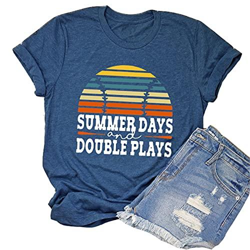 YourTops Camiseta de béisbol retro para mujer, de verano y de doble juego - - Medium