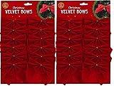 velours rouge nœuds de ruban - Arbre de Noël Décoration - CHRISTMAS CADEAUX / présente - Arts Artisanats