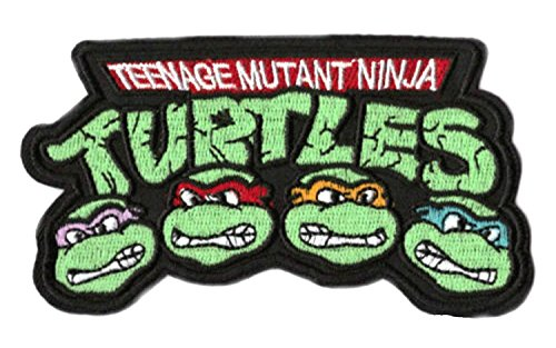 Teenage Mutant Ninja Turtles Patches Applikation (8,9cm/9cm) bestickt TMNT Logo Cartoon Badge