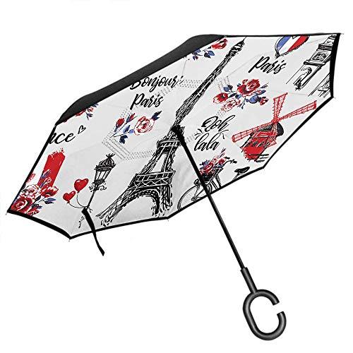 Dliuxf Paris Regenschirm Vintage Französisch Marken Wort Turm Liebe Herz Fahnen Fahrrad Blume Auto Reverse Invertiert Winddicht UV-Schutz Regenschirm -K92