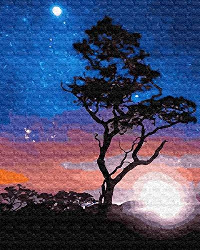 Paisaje Árbol Diy Pintura al óleo por número Kit Imagen de arte de pared moderno por número Pintura acrílica para adultos sobre lienzo Decoración para el hogar W13 40x50cm