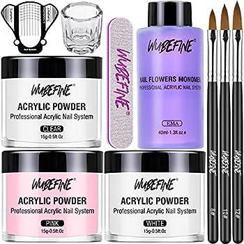 WuBeFine Acrylic Nail Kit Acrylic Powder and Liquid Set Professional Monomer Liquid Set with Acrylic Nail Brush 3 Colors Pink White Clear Nail Powder Kit