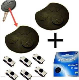 Für Smart 450 Funkschlüssel Schlüssel 2x Tastenfeld Gummi + 6x Mikroschalter SMD Taster 1x Batterie