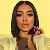Lace Front Wigs Human Hair Bob Wigs 4x4 Lace Closure Remy Human Hair Wigs Pre Plucked Natural Color Straight Lace Front Bob Wigs Middle Part Short Bob Wigs 10 Inch