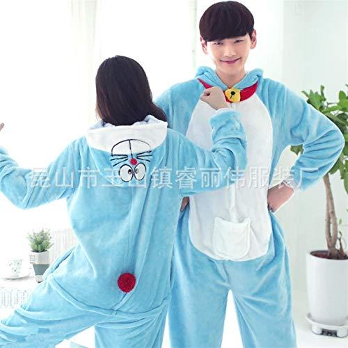 ZWwei Animales De La Historieta Coral Franela Pijamas De Una Pieza Adulto Gris For Los Hombres Y Las Mujeres-Blue (Color : Doraemon, Size : S.)