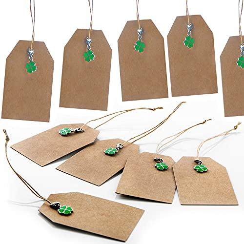 Logbuch-Verlag 10 ciondoli in carta kraft marrone con quadrifoglio e ciondoli verde – Ciondolo regalo con portafortuna, 9,5 x 5,5 cm