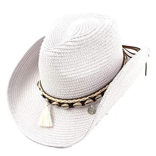 Qiang Dong Damen Strohhut Western Cowboy Hut Sommer Elegant Lady Cowgirl Sombrero Sonnenhut mit Quaste Band Jazz Hut weiß weiß 55-58 cm