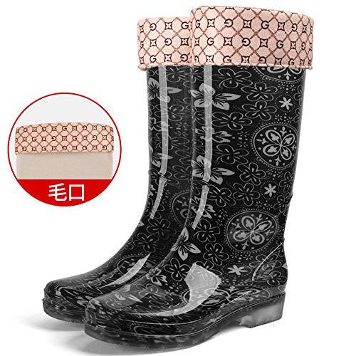 ZQDZYA Wellies rubberlaarzen, lage hakken, winter antislip, warme regenlaarzen, Pure Black Light bloem met mond, pvc-schoenen, dames, vrouwen, rubberen laarzen om te helpen