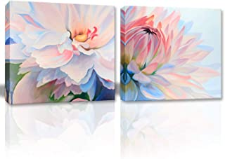 Picabala 2 Piece Peony Flower Painting Wall Art-Office Decor-Pink and Blue Lotus Printed Canvas Prints Picture Modern Framed Oil Art for Living Room Home Decoration Ready to Hang-12