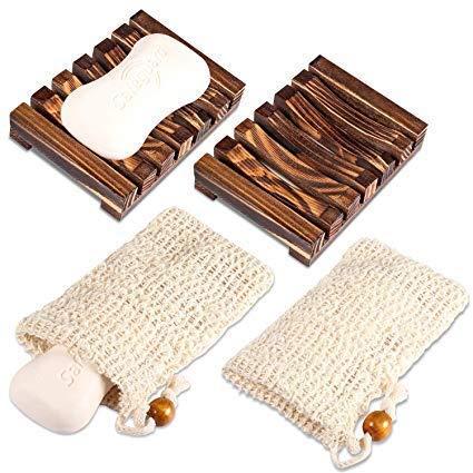 Yosemy 2 Stück Seifenschale Holz Dusche,2 Stück Seifensäckchen,Natürliche Bambus Seifenkiste,Bio Seifensack mit Kordel, Verhindert Seifenreste auf Ihrer Waschbeckenablage Für Bad Waschbecken