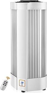 Calentador Eléctrico para Hogar Baja Energía - Calefactor Ventilador Cerámica de Torre Digital con Control Remoto 2000W - Calentador Espacio - Temporizador - Pantalla LED - 2 Niveles Calor,White