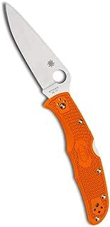 Spyderco Endura 4 Lightweight Folding Knife - Orange FRN Handle with PlainEdge, Full-Flat Grind, VG-10 Steel Blade and Back Lock - C10FPOR