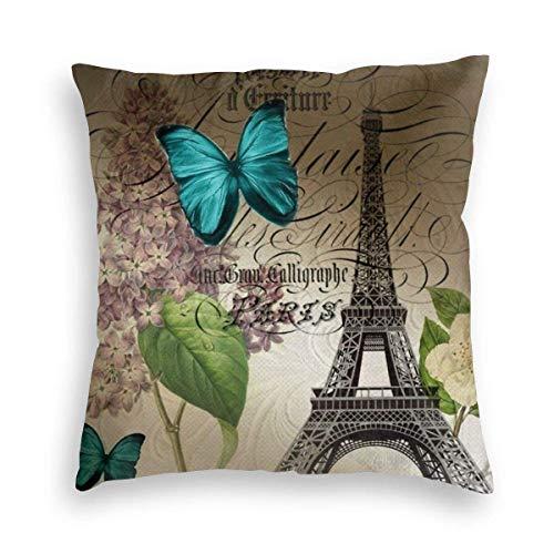Leisure-Time Funda de Almohada Old Paris Torre Eiffel Mariposa Azul Lila Funda de Almohada Cuadrada Decorativa Sofá Dormitorio Funda de cojín para Coche 18x18inches 45x45cm