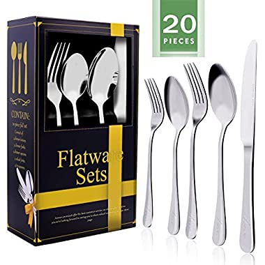 20-Piece Flatware Silverware Set, Aonsen Stainless Steel Cutlery Set, Service for 4, Mirror Polished, Include Knife, Fork, Spoon