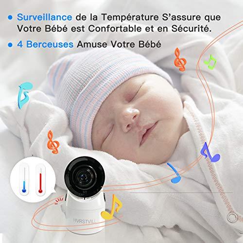 HVRSTVILL Babyphone Video Caméra, 3.5' HD Moniteur Bébé Sans Fil avec Rotation 355°, Vision...