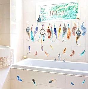 أزياء اليد طباعة ريشة خلفيات ديكور المنزل بلوم خلفيات الفن صائق الديكور PVC ملصق-ej