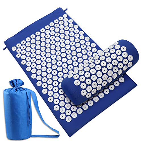 Acupressure Mat for Back and Neck Pain ReliefNew Natural Acupressure Mat and Pillow SetTrigger Point Massage Acupressure Mat Massager for Relieve SciaticHeadachesamp Muscle RelaxationTote Bag Blue