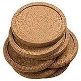 KANJJ-YU Juego de 12 posavasos de corcho redondo y liso, para taza de café, para beber, para mesa de vino, decoración de oficina, accesorios de calidad (color marrón