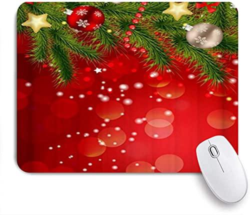 HASENCIV Alfombrilla de Ratón,Hermoso Estampado de Feliz Navidad de Luces Rojas y Verdes,Alfombrilla de ratón Gaming,Base de Goma Antideslizante,Mouse Pad para Oficina 24 x 20 cm