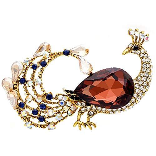 U/N Broches de Pavo Real Grandes de Cristal para Mujer Moda Otoño...