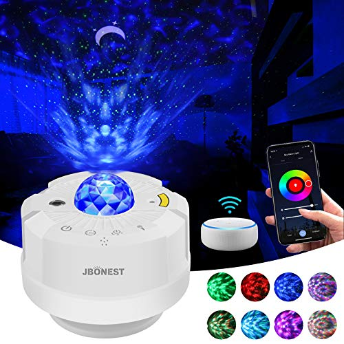 Wifi Smart Sternenhimmel Projektor Lampe,LED Nachtlicht Baby mit Sprachsteuerung, Sterne/Mond/Wasserwellen Projektor Arbeiten mit Alexa/Google Assistant, für Kinder/Weihnachten,Nur USB-Kabel enthalte