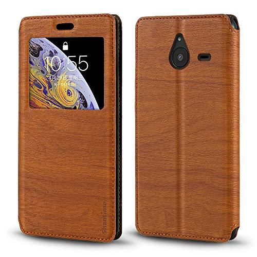 Schutzhülle für Nokia Lumia 640XL, Holzmaserung, Leder, mit Kartenhalter & Fenster, magnetisch, für Nokia Lumia 640XL