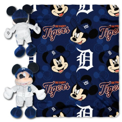 MLB Detroit Tigers Co-Brand Disney Mickey Mouse Hugger & Fleece Throw Set, 40' x 50'