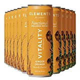 Natural Energy Drinks by Elements | Naturally-Flavored Ginger Orange with Rhodiola + Ginseng | Caffeine-Free, No Added Sugar, Low Calorie, Plant-Based |11.5 Fl Oz (12 Pack)