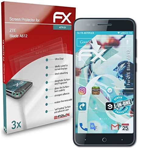 atFolix Schutzfolie kompatibel mit ZTE Blade A612 Folie, ultraklare & Flexible FX Bildschirmschutzfolie (3X)