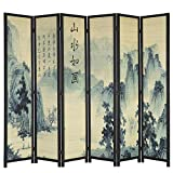 MyGift 6-Panel Bamboo Screen Freestanding Room Divider with Asian Calligraphy Artwork Design