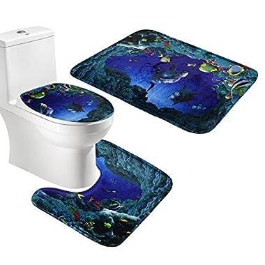 Generic 3 Piece Bath Mat Set Sea Fishes Flannel Bathroom mat Contour Toilet Cover Rug