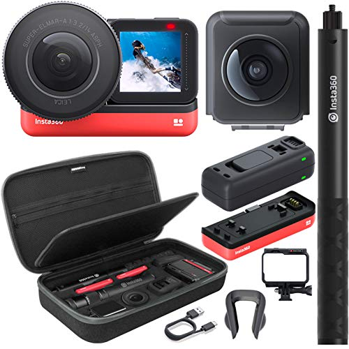 Insta360 ONE R Expert Edition Action Camera (5.3K 1-Inch Sensor Leica Lens & 5.7K 360 Lens) Bundle with 2 Batteries, Fast Charge Hub, Invisible Selfie Stick, Carrying Case