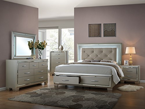 Home Source Bed/Dresser/Mirror/Night Stand Set, King, Platinum
