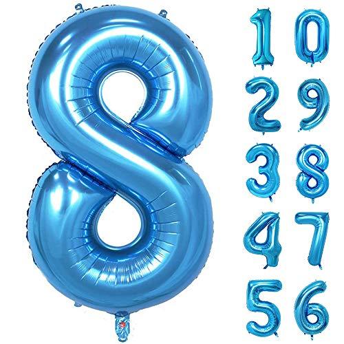 GRESAHOM Ballon Zahl in Blau, 40inch 100cm Riesen Folienballon Zahl 8 Luftballon Geburtstagsdeko