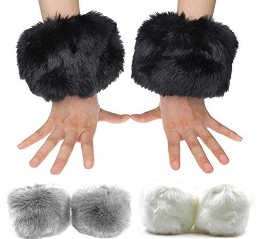 Faux Fox Fur Hair Soft Wrist Band Ring Cuffs Fuzzy Arm Warmer Sleeves 3 Pairs (model 1)