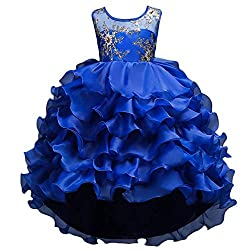 Royal Blue Ruffles Lace Party Dress With Sequins
