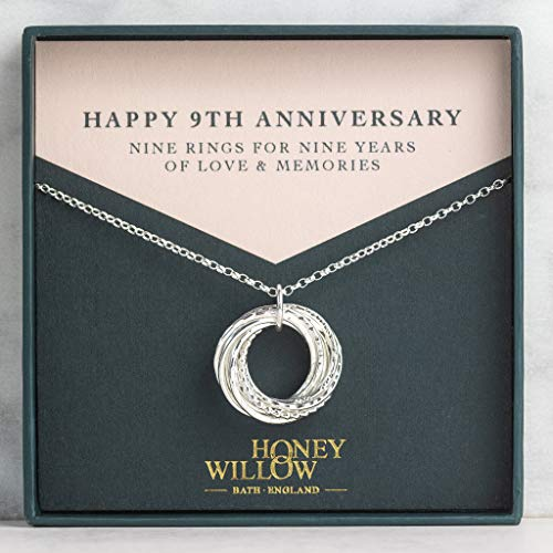 9th Anniversary Sterling Silver Necklace: 9 Rings for 9 Years- with Gift Note