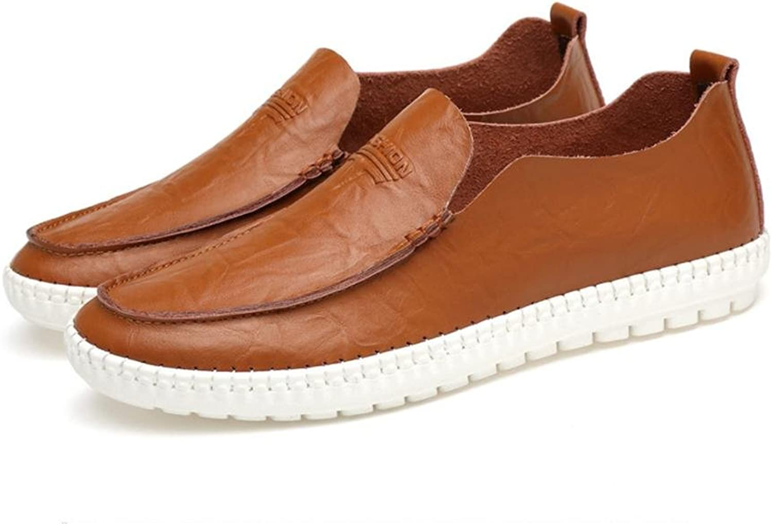 NANYDXIE Men's Genuine Leather Sleeves Solid color Leisure Fashion Sneakers