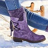 DIQIU Botas Vaquero Occidentales Botas Martin Empalme Zapatos Nieve para Mujer Botas Trabajo con Punta Redonda Zapatos Ecuestres Vintage Gran Tamaño,Purple-36