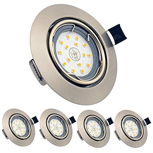 LED Einbaustrahler Schwenkbar, 5er Set 6W GU10 Warmweiß 3000K 450LM Einbauleuchten mit 82RA als CRI rund 230v LED Spot IP23 Einbaulampen für Bad, Küche, Wohnzimmer