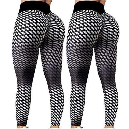 Dosoop 2Pcs Women's Yoga Pants Bubble Hip Butt Lifting Legging High Waist Workout Tummy Control Yoga Running Tights