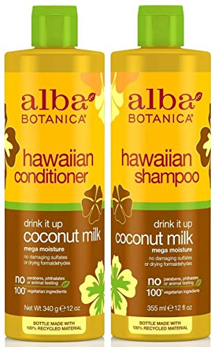 Alba Botanica Drink It Up Coconut Milk, Hawaiian Duo Set Shampoo and Conditioner, 12 Ounce Bottle...