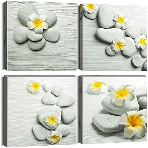 OTOSTAR 4 Pieces Canvas Prints Wall Art Art of Stone with Yellow Flowers Picture Painting Modern product image