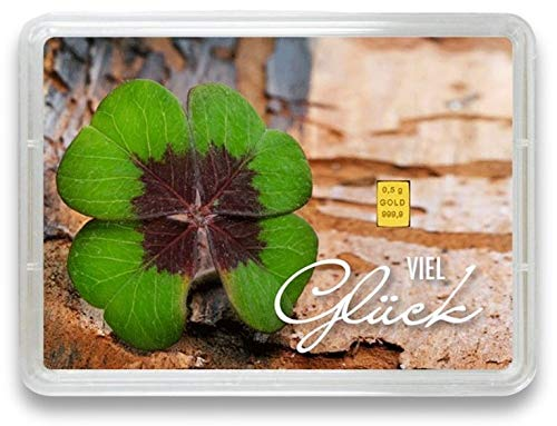 "Goldbarren 0,5g – Geschenk Motivbox ""Viel Glück"" – Valcambi ESG - Feingold 999,9 (0,5g Gold)"