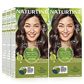 Naturtint Permanent Hair Color 5N Light Chestnut Brown  Pack of 6  Ammonia Free Vegan Cruelty Free up to 100% Gray Coverage Long Lasting Results